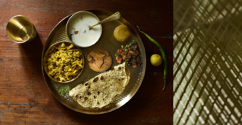 "Shop online kansa Thali Set - 11"" Thali + Bowl + Glass + Spoon + Small Dish"