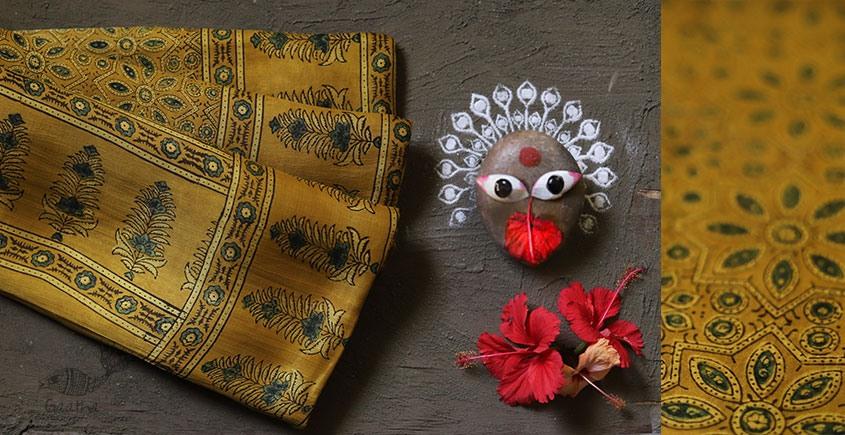 Modal silk ajrakh saree yellow color