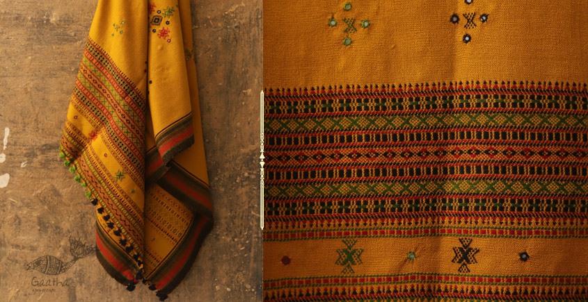 shop online woolen mustard yellow  shawl with mirror work