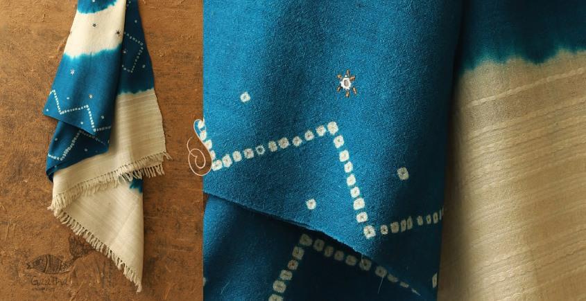 Sharad . शरद ⚹ Handwoven Merino Wool Shawl ( Tie & Dye )❅ O