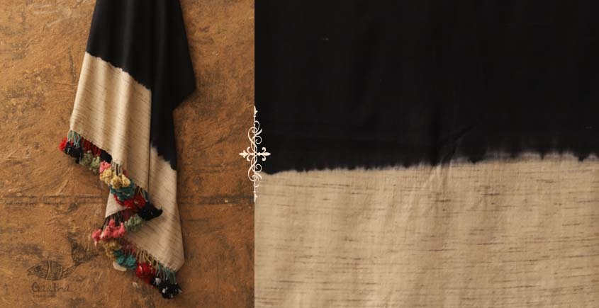 shop online Handwoven Woolen Tussar Silk Plain Black shaded Shawl