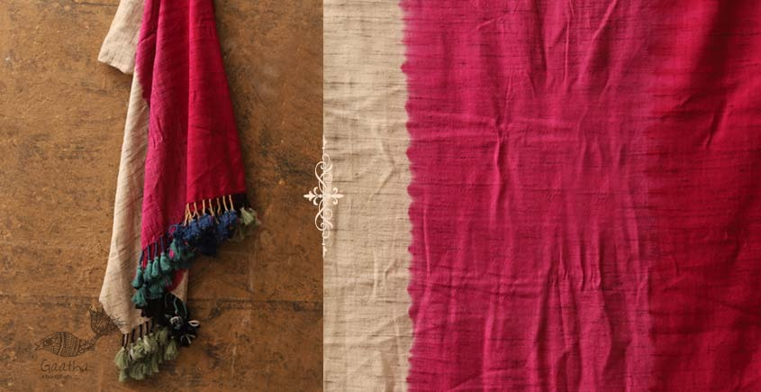 Sharad . शरद ⚹ Handwoven Merino Wool Tussar Plain Shawl ❅ 9