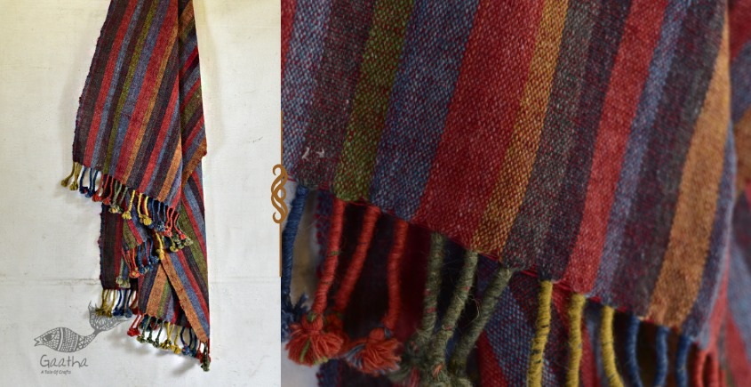 exclusive new collection of 2021 Raw Woolen Bhujodi multi color stripes Shawl