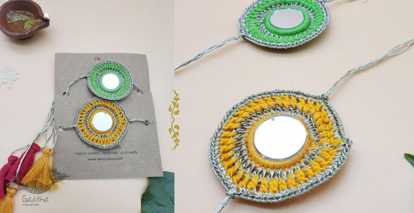 shop online latest collection of handmade designer Kundan rakhi set