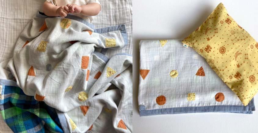 shop Kids Organic Gift Set (Dohar + Kapok Pillow Dhruvtara print)
