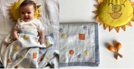 Organic Cotton ★ Kids Organic Gift Set (Dohar + Mustard Seed Pillow + Maracas - Dhruvtara) ★ 15