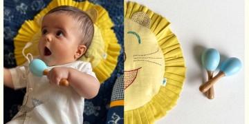 Organic Cotton ★ New Born Gift Set (Lion Pillow + 2 Wooden Maracas) ★ 4