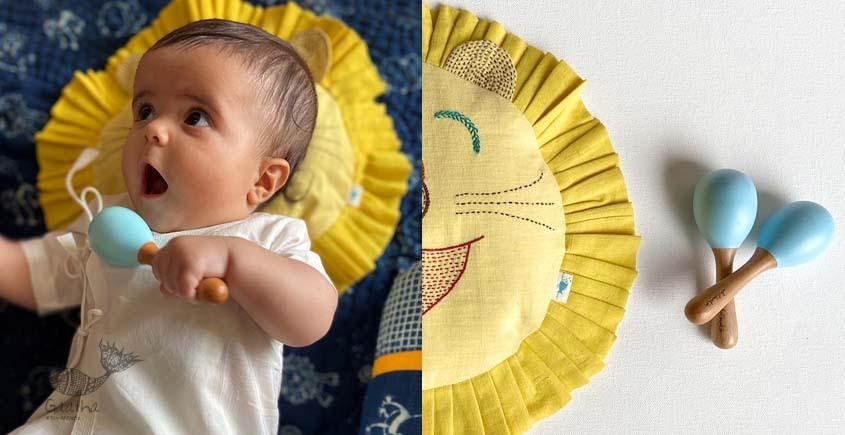 shop New Born Gift Set (Lion Pillow + 2 Wooden Maracas)