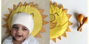 Organic Cotton ★ New Born Gift Set (Sun Pillow + 2 Wooden Maracas) ★ 6
