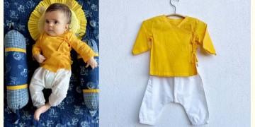 Organic Cotton Unisex ★ Yellow Angrakha With White Pant ★ B