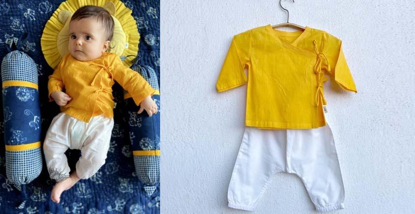 shop Yellow Angrakha With White Pant