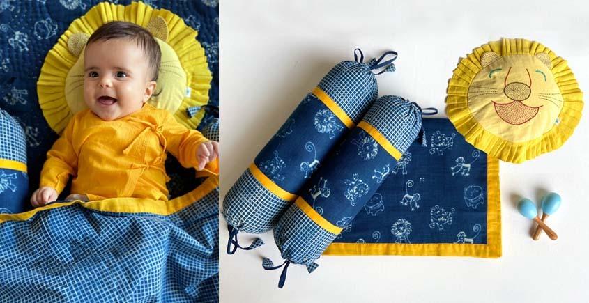 shop Kids Organic Gift Set (Dohar + Mustard Seed Pillow + Maracas - Zoo + 2 Bolster -Zoo)