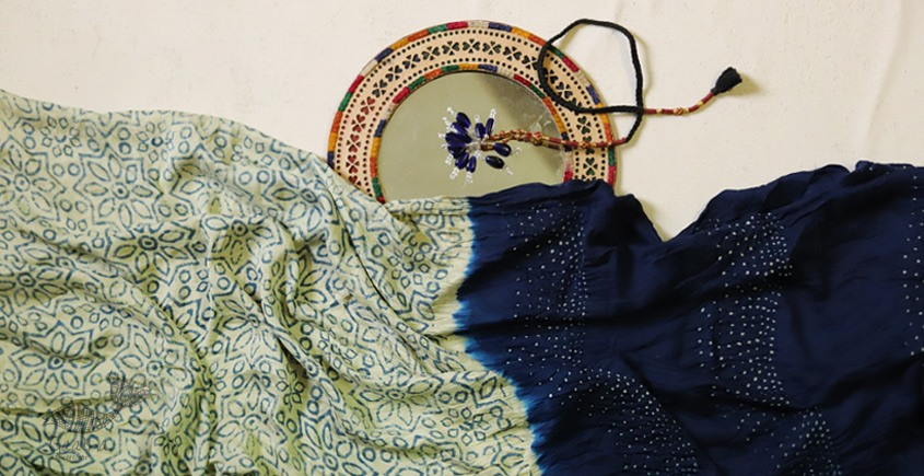buy online Bandhni saree with ajrakh printed pallu - Gajji Silk in blue and cream color