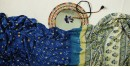 buy online Bandhni saree with ajrakh printed pallu - Gajji Silk in Royal Blue Color