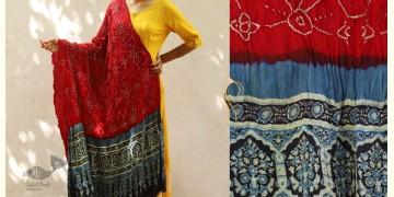 Flavors of fusion ★ Gajji Silk Ajrakh Bandhani Dupatta ~ 2