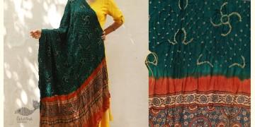 Flavors of fusion ★ Gajji Silk Ajrakh Bandhani Dupatta ~ 3