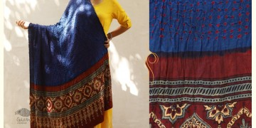 Flavors of fusion ★ Gajji Silk Ajrakh Bandhani Dupatta ~ 6