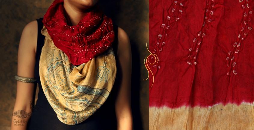 Flavors of fusion ★ Tabi Silk Ajrakh Bandhani Stole ~ 8