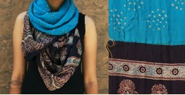 Flavors of fusion ★ Tabi Silk Ajrakh Bandhani Stole ~ 10