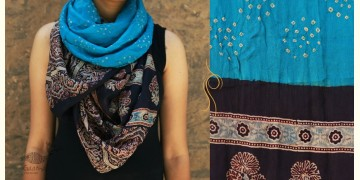 Flavors of fusion ★ Tabi Silk Ajrakh Bandhani Stole ~ 10