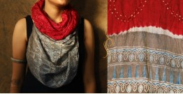 Flavors of fusion ★ Tabi Silk Ajrakh Bandhani Stole ~ 14