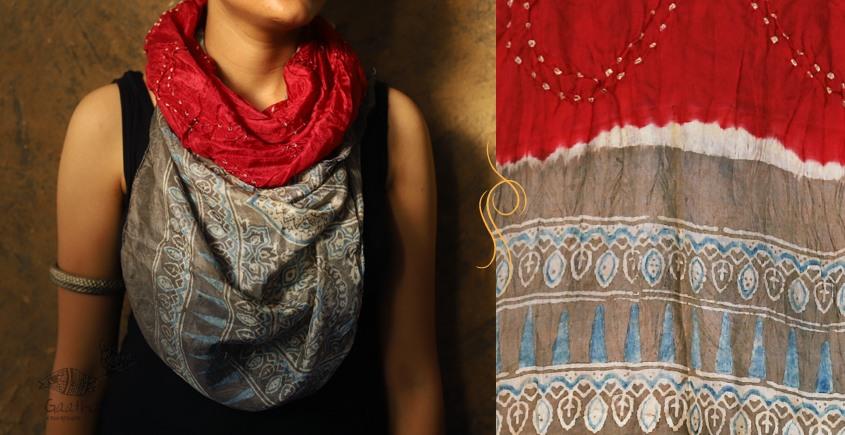 Flavors of fusion ★ Tabi Silk Ajrakh Bandhani Stole ~ 14
