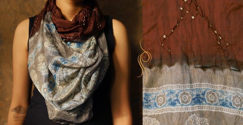 Flavors of fusion ★ Tabi Silk Ajrakh Bandhani Stole ~ 15