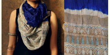 Flavors of fusion ★ Tabi Silk Ajrakh Bandhani Stole ~ 16