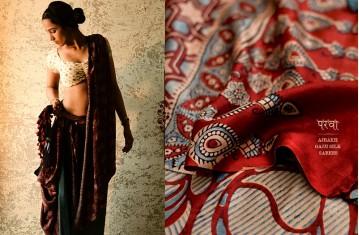 Ajrakh Gajji Silk Saree.