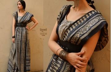 Block Printed . Tussar Silk Sarees By Weavers Studio.