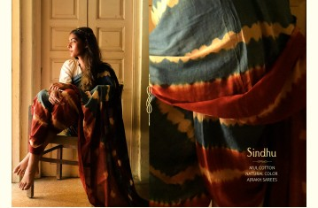 Sindhu ⚘ Ajrakh Mul Cotton Saree ⚘ Natural Dyed