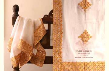 Sweet Smelling Frangipani ❀ Cotton Applique Dupatta