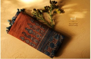 चारु ⚘ Ajrakh Mul-Cotton Saree