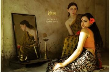 देविका ❋ Ajrakh Modal Silk Saree.