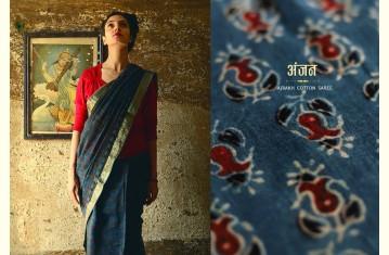 अंजन ◉ Ajrakh Cotton Saree ◉ Natural Colour