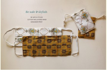 Be safe & stylish ✜ Cotton Two Layered Mask ✜ Sanganeri Print