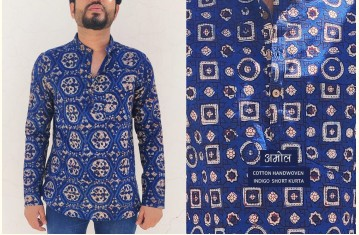 अमोल ● Handwoven | Dabu Printed ● Cotton Short Kurta