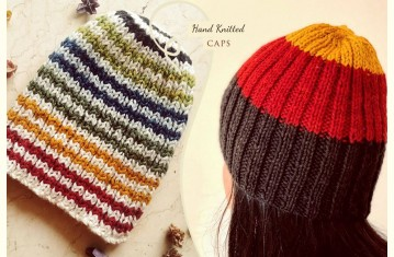 Hand Knitted ☃ Natural Color ☃ Pure Woolen Cap