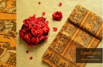 Gandharva - Handloom . Baluchari Silk Saree.
