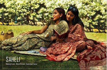 Saheli - Natural Color . Block Printed . Kalamkari Saree.