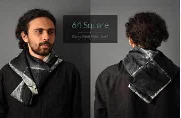 Square • Clamp Dyed Stole . Scarf.