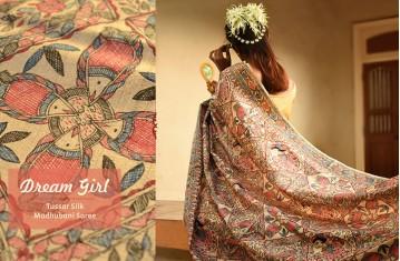 Dream Girl - Tussar Silk . Madhubani Saree
