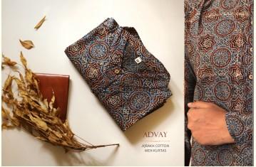 Advay : अद्वय | Ajrakh Printed Cotton long kurta