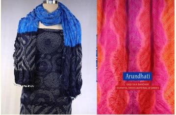 Arundhati ~ Gajji Silk Bandhni Dupatta, Dress Material & Sarees