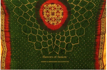 Flavors of fusion ❀ Ajrakh & Bandhani Silk Dupattas