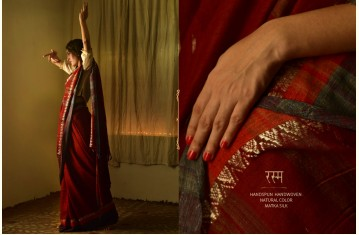 रस्म ☸ Handwoven . Natural Color ☸ Matka Silk Zari Sarees & Dupattas