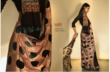 पार्वती ❋ Ajrakh Modal Silk Saree