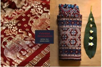 Celestial Decorations - Modal Silk Ajrakh Saree with Zari Pallu