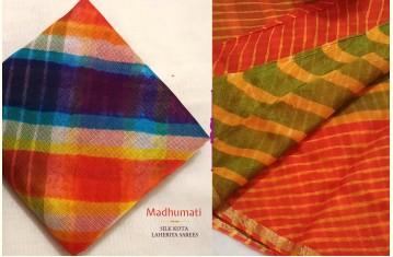 Madhumati ☙ Silk Kota Doria . Laheriya Sarees