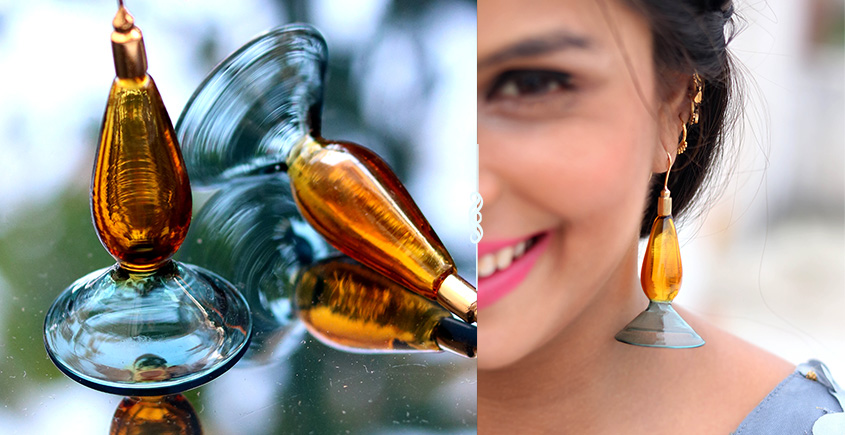 Flora ⚹ Glass Jewellery ⚹ Amber And Teal Funnel Incalmo ( Earring ) ~ 4